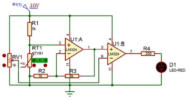 Implementasi sensor PTC dengan kendali analog