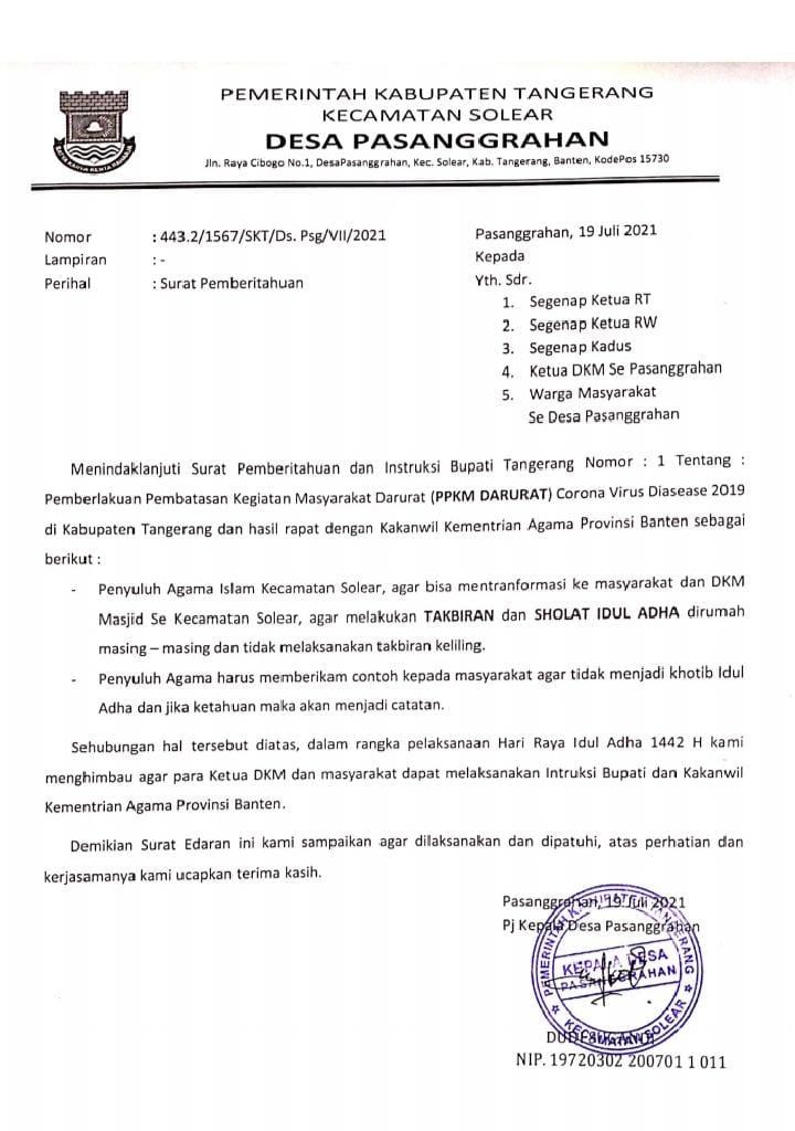 Jelang Hari Raya Idul Adha 1442 H, Pejabat Kades Pasanggrahan Keluarkan Surat Pemberitahuan.