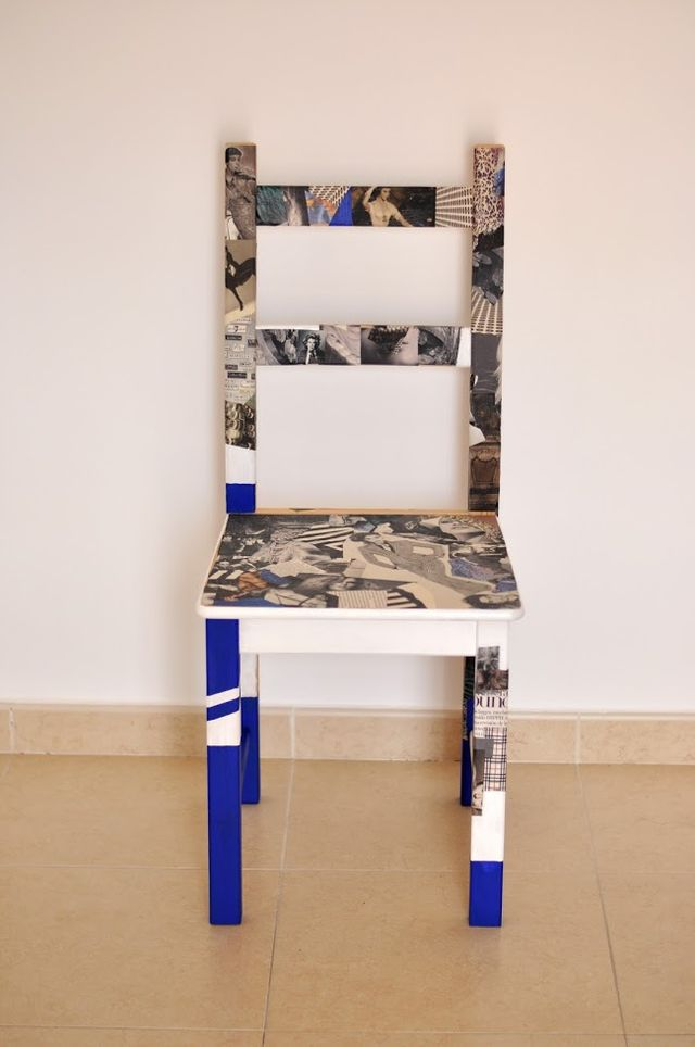 IKEA hack chair with some magazine papers