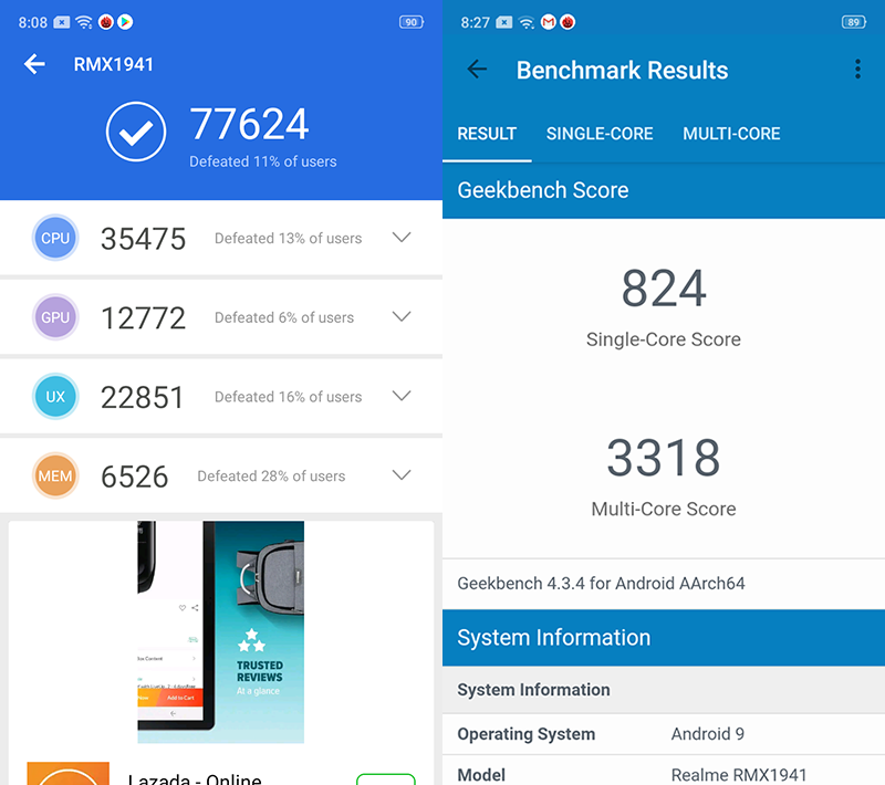 Realme C2's AnTuTu and Geekbench benchmarks