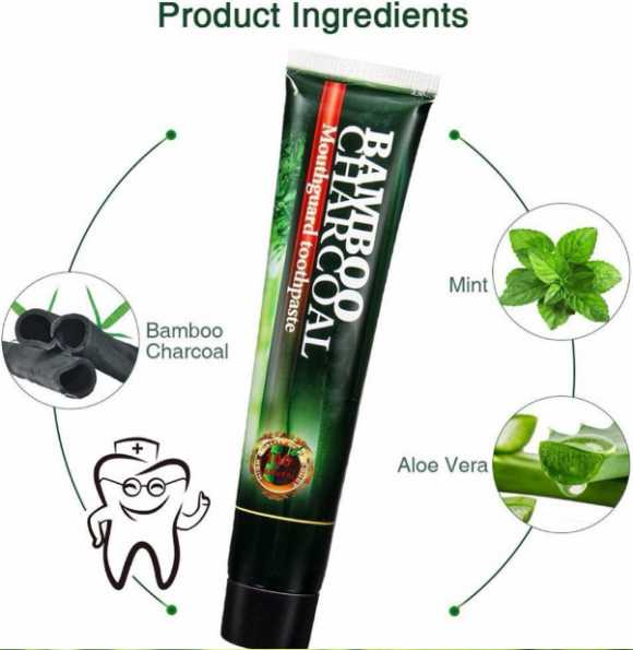 Teeth Whitening ACTIVATED CHARCOAL Black ORGANIC Natural Toothpaste