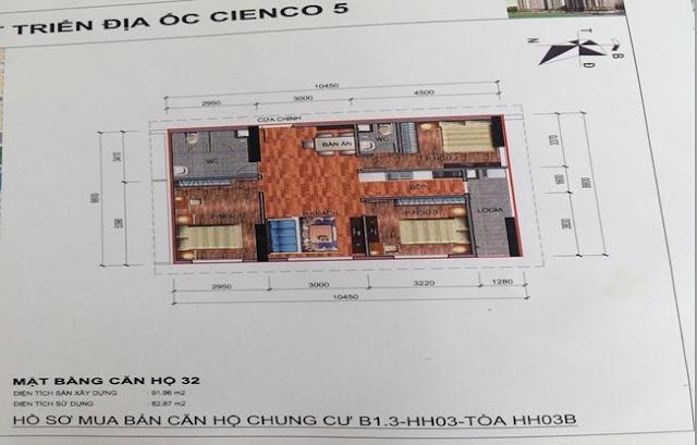 Sơ đồ thiết kế căn hộ 32 chung cư B1.3 HH03B Thanh Hà Cienco 5