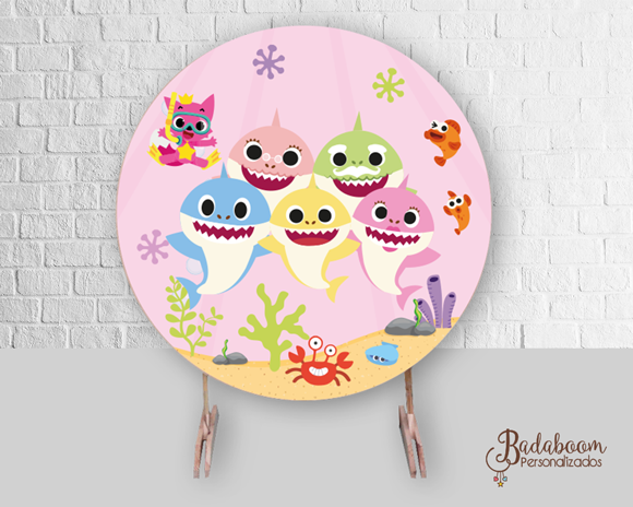 Baby Shark, rosa, painel, redondo, arte digital, arte personalizada, tubarões