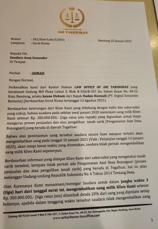 Merasa Ditipu, Dadan  Terpaksa Mensomasi Oknum Kepala Desa Bojongsari Kab Bandung