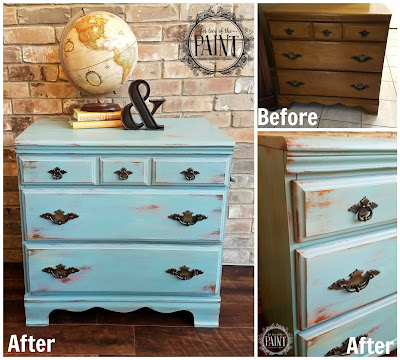 Before and After : Layered Blue Farmhouse Style Dresser - with Tutorial