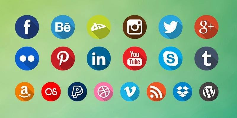 Free Long Shadow Social Icons