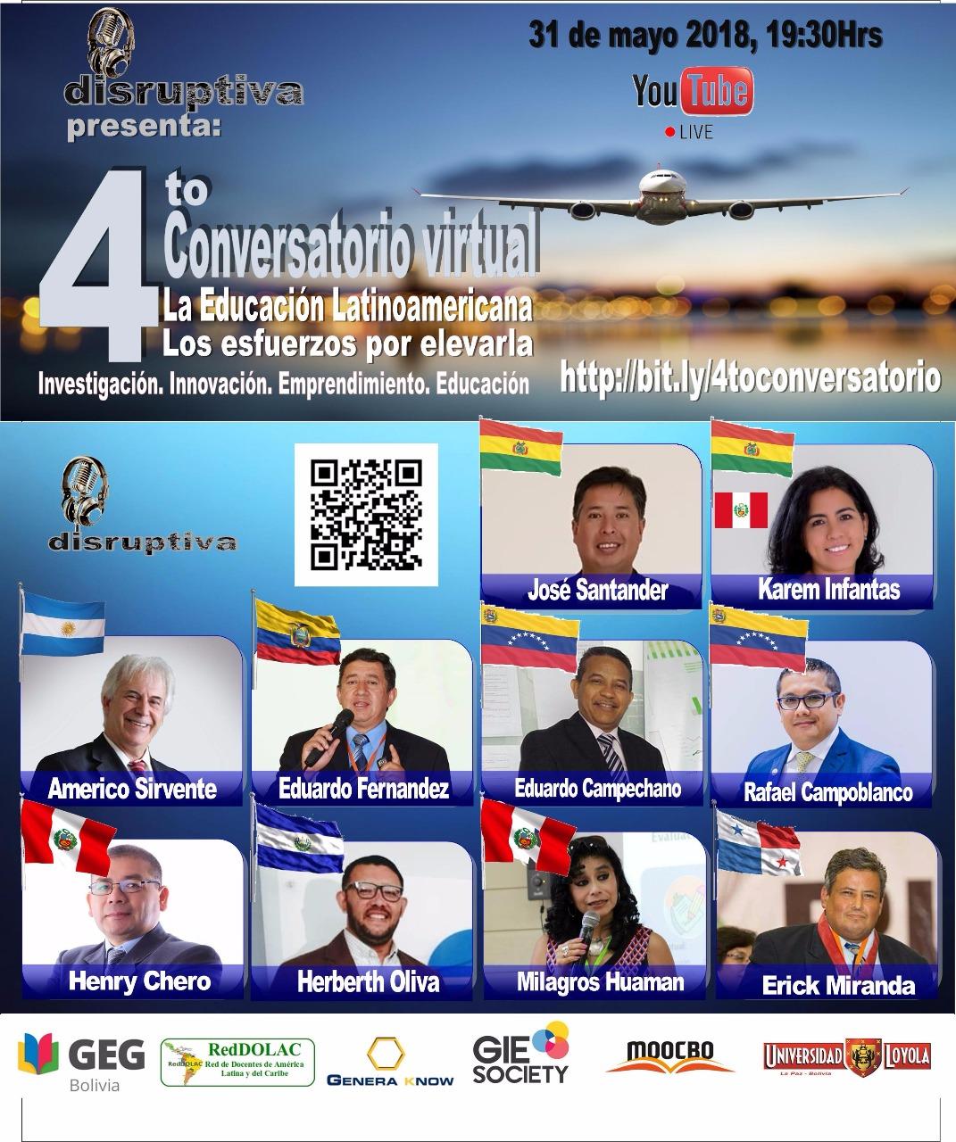 El conversatorio será difundido por YouTube Live a toda Latinoamérica / GEG BOLIVIA