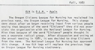 Newsletter entry regarding changes from Citizens' League back to League for Nursing