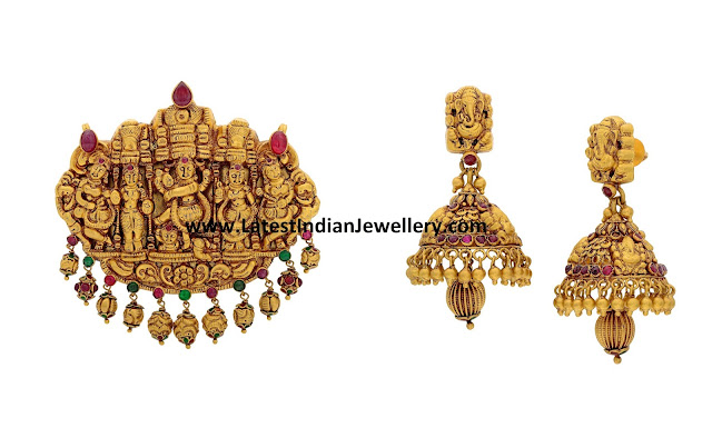 Temple Work Pendant and Jhumkas