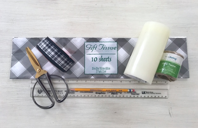 buffalo plaid tissue paper scissors LED candle