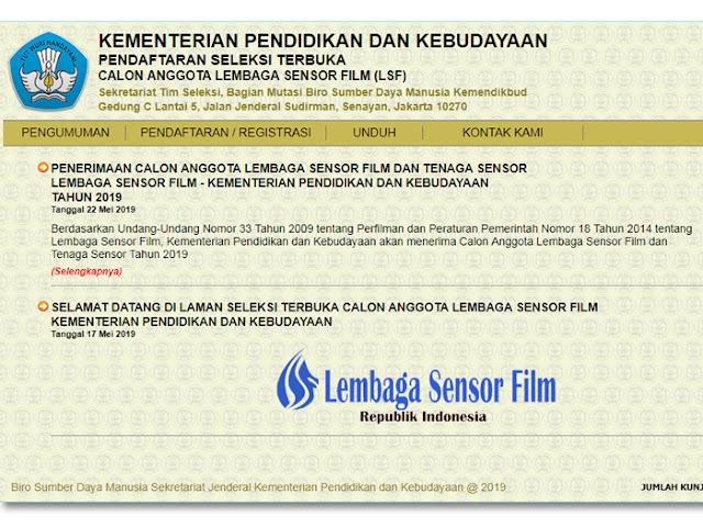 Persyaratan dan Jadwal Pendaftaran Calon Anggota dan Tenaga Sensor Lembaga Sensor Film 2019