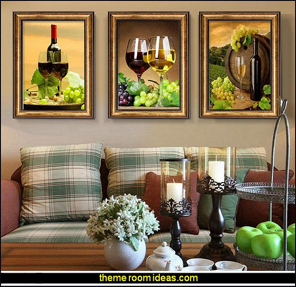 Wine Barrel Triptych Wall Art wine bar wall art home bar wall art tuscan kitchen wall art wine art grape art