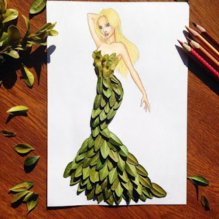 رسمة للفنان إيدجر باستخدام اوراق النباتات