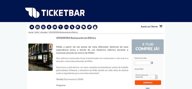 Ticketbar para ingressos para o restaurante elétrico ATMOSFERA em Milão