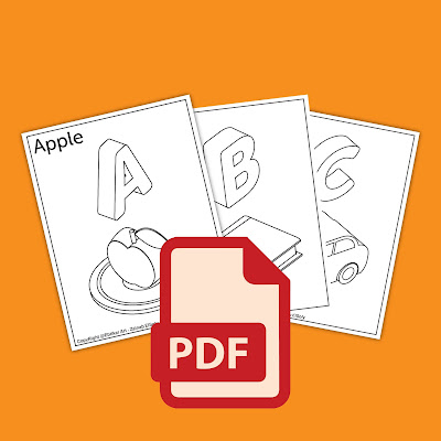 3d ABC alphabet coloring book pages to print