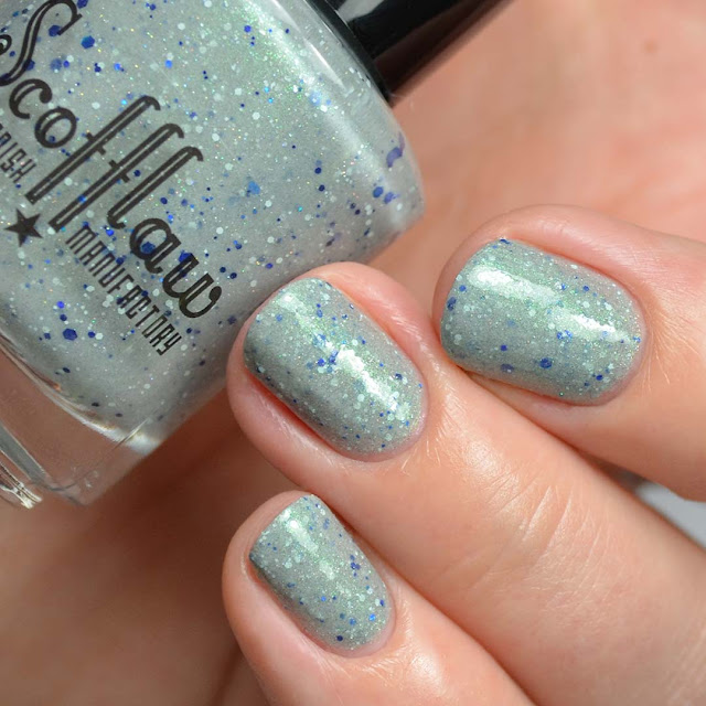 grey nail polish with glitter