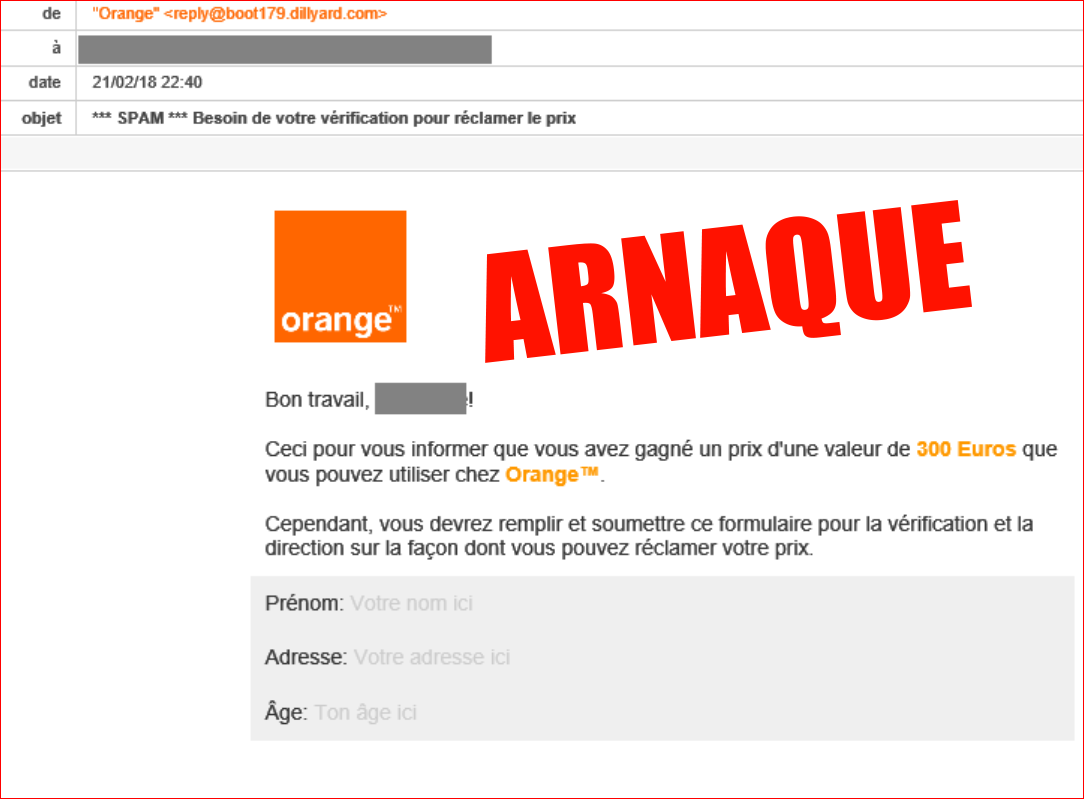Mail Orange (phishing) : Faux gain d'une valeur de 300€