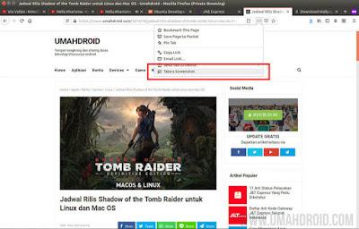 Menggunakan Take a Screenshot Firefox