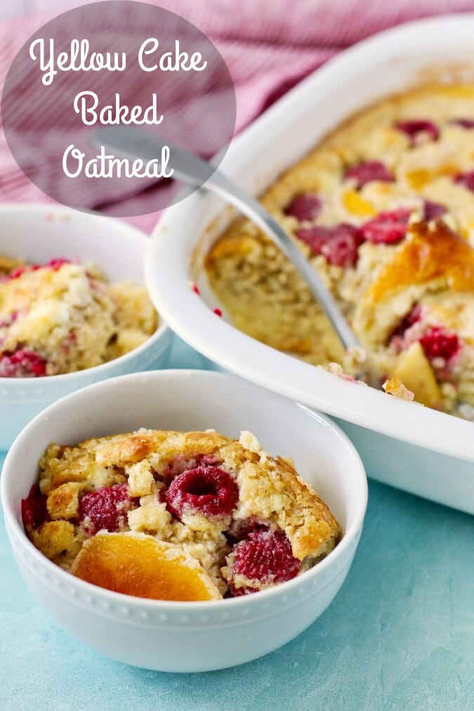 Yellow Cake Baked Oatmeal serving