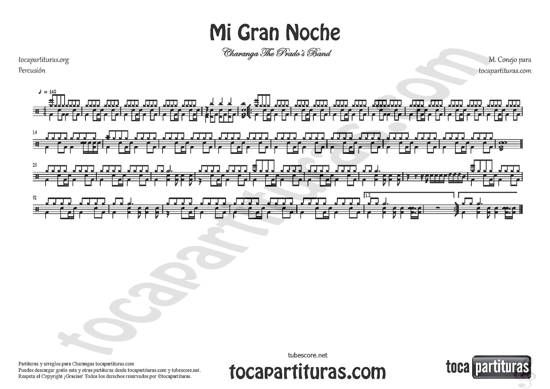 Diegosax Mi Gran Noche De Raphael Partituras De Charanga Partitura De Clarinete Saxofón Alto Trompeta Trombón Tuba Saxofón Tenor Batería O Percusión