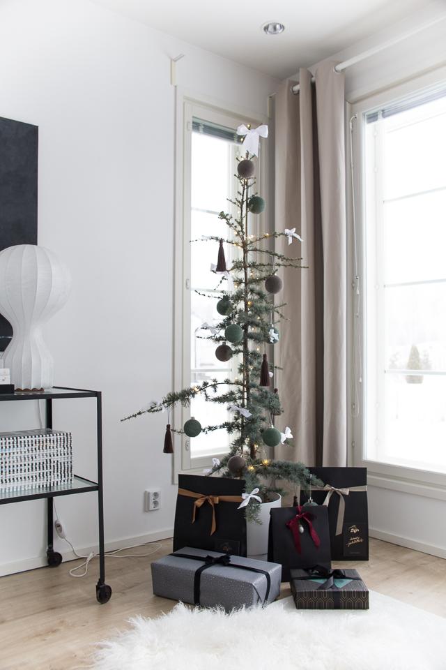 joulu sisustus, joulupaketit, paketointi, olohuoneen sisustus