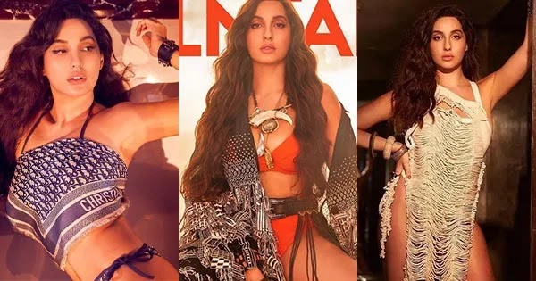 Nora Fatehi in red bikini sizzles on the cover of Filmfare magazine Sep. 2021 issue.