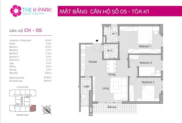 Thiết kế căn 05 tòa K1 chung cư The K-Park