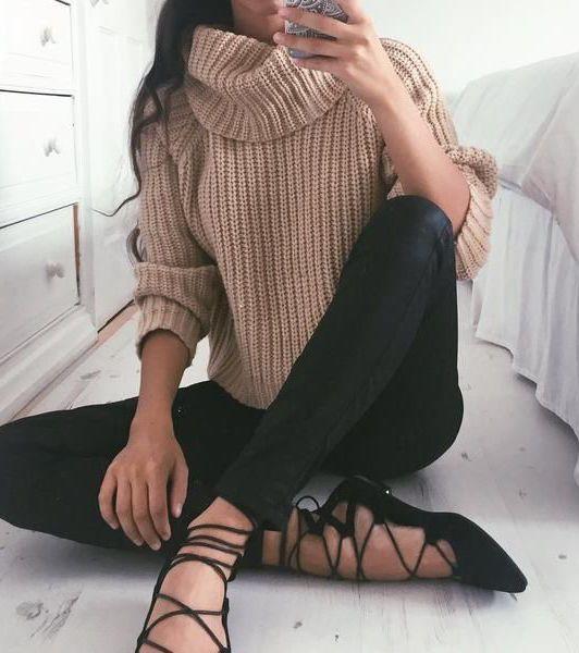 Camel Turtleneck Knit