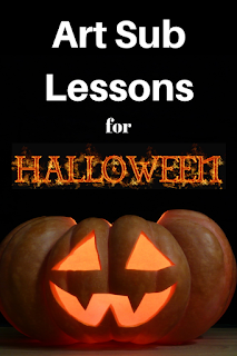 ideas for art sub plans for elementary students...picture of pumpkin jack o' lantern