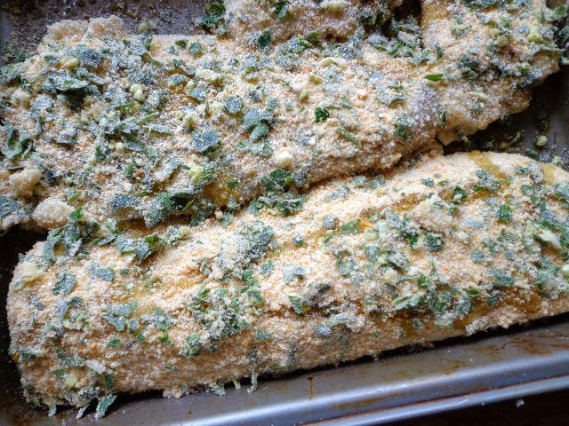 Place fillets in baking dish, crust-side up