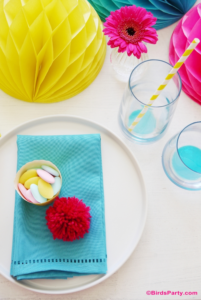 Mother's Day Color Pop Tablescape place Setting Ideas Mother's Day Color Pop Party Favors and DIY Gifts - BirdsParty.com