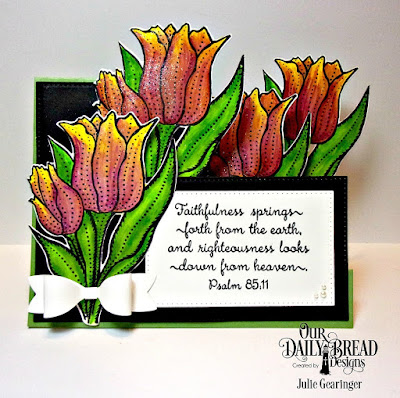 Our Daily Bread Designs Stamp Set: Tulips, Custom Dies: Tulip, Pierced Rectangles, Side Step Card, Small Bow