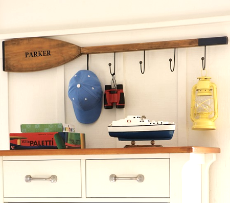 oar wall rack idea from Pottery Barn