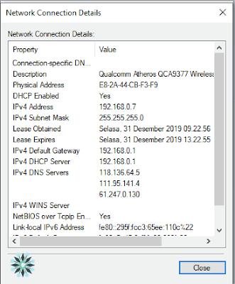 cara cek ip address laptop