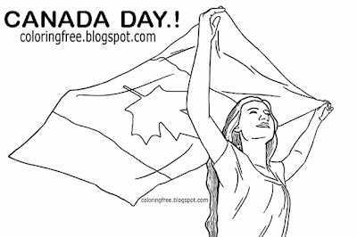 Printable Canada day coloring in pages beautiful Canadian girl drawings holding flying national flag