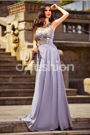 Rochie lunga eleganta de seara din voal gri cu broderie florala