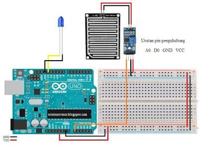 Rangkaian sensor hujan arduino pin analog