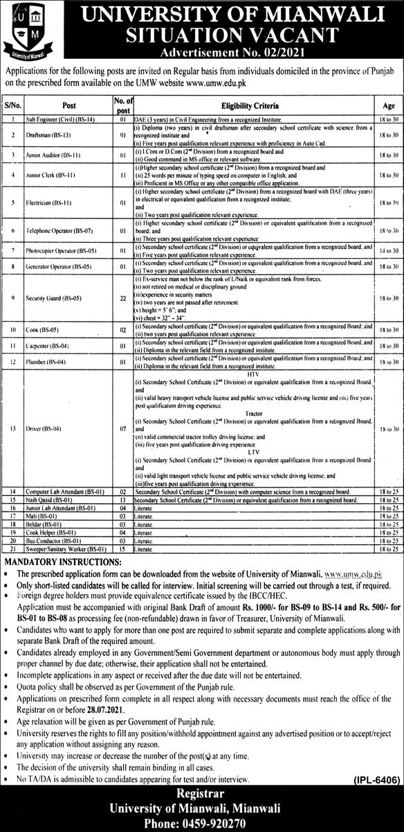 University of Mianwali UMW Jobs 2021 in Pakistan - Mianwali University Jobs 2021 - Mianwali Jobs 2021