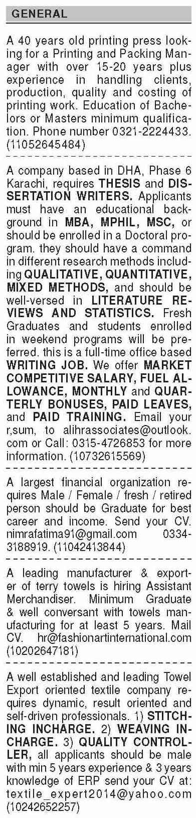 Packing Manager Writer Assistant Merchandiser CEO Editor Proof Reader Jobs in Karachi