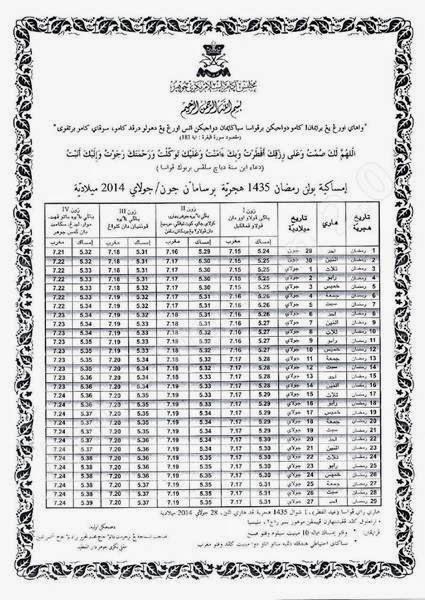 Jadual Waktu Imsak Dan Berbuka Puasa Bagi Negeri Johor Tahun 1435 / 2014