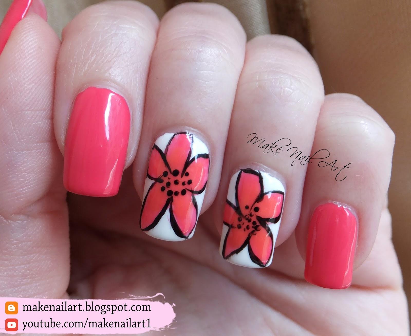 Make Nail Art Easy Summer Flower Nail Art Design Tutorial
