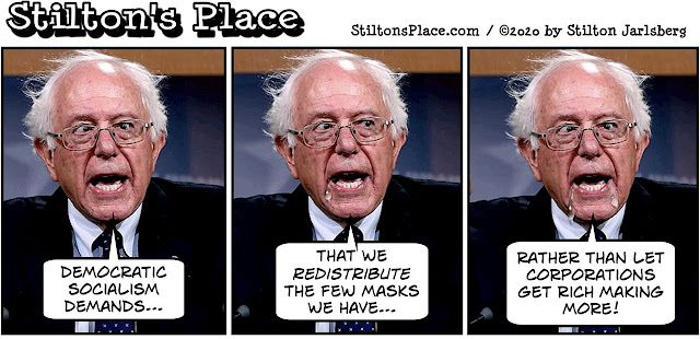 stilton's place, stilton, political, humor, conservative, cartoons, jokes, hope n' change, coronavirus, socialism, masks, bernie sanders