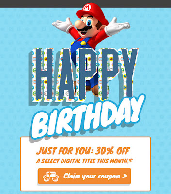 Nintendo of America happy birthday e-mail Mario claim your coupon 30% just for you offer
