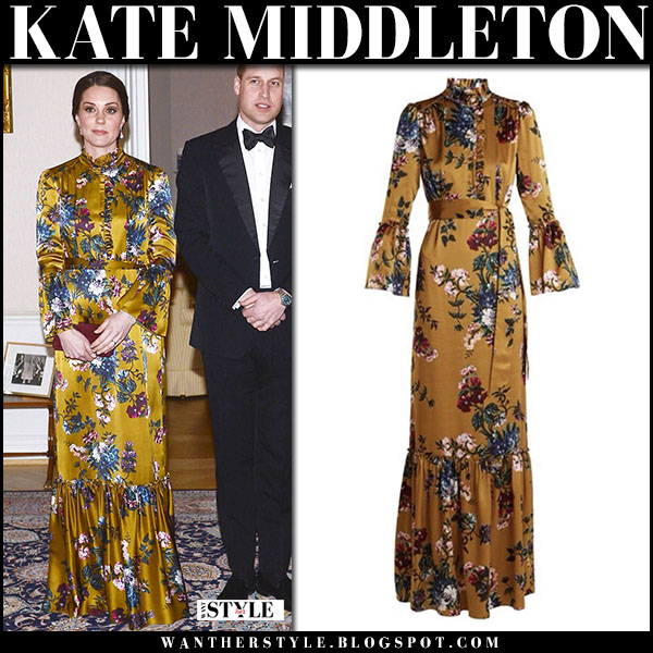 Kate Middleton in floral print yellow gold maxi dress erdem royal visit sweden outfits 2018