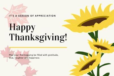 Happy thanksgiving written on maple & sunflower background image.