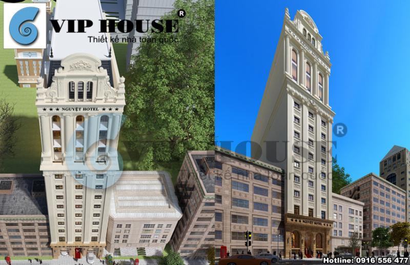 Hình ảnh: Phối cảnh tổng thể của thiết kế khách sạn 3 sao 13 tầng tại Hà Tĩnh