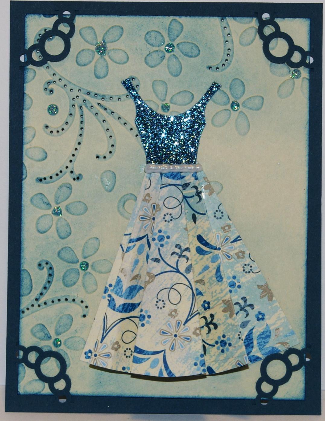 Объемные открытка с платьем
