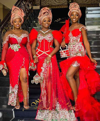 Asoebi Styles with Lace and Ankara