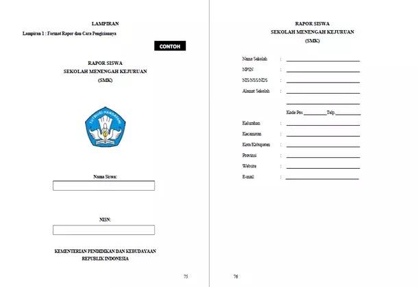 Format Raport SMK dan Cara Pengisiannya Sesuai Panduan Penilaian dari Kemdikbud