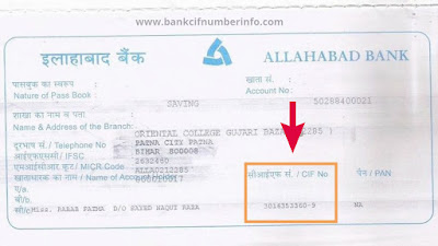 What is CIF number of Allahabad bank
